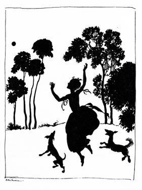 Cinderella Playing with Her Dogs, 1919 by Arthur Rackham