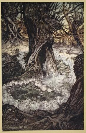 Come, Now a Roundel, Illustration from 'Midsummer Nights Dream' by William Shakespeare, 1908 by Arthur Rackham