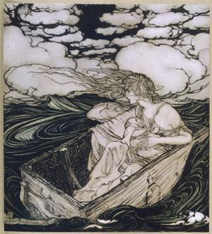 Danae Cast Adrift (1903) by Arthur Rackham