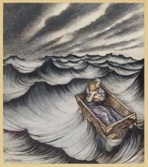 Danae Cast Adrift (1922) by Arthur Rackham