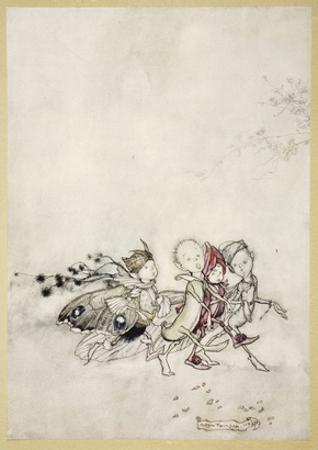 Enter Peasebottom, Cobweb, Moth, and Mustardseed