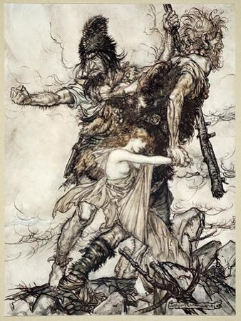 Fasolt suddenly seizes Freia and drags her to one side with Fafner', 1910 by Arthur Rackham