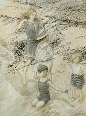 Four Children at the Seashore, 1910 (W/C on Paper) by Arthur Rackham