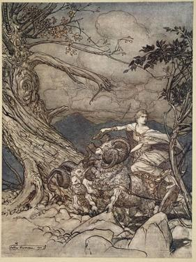 Fricka approaches in anger, illustration from 'The Rhinegold and the Valkyrie', 1910 by Arthur Rackham