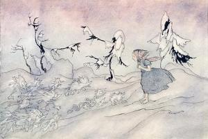 Gerda Is Terrified by the Snow Queen's Advance Guard, But She Said 'Our Fat by Arthur Rackham