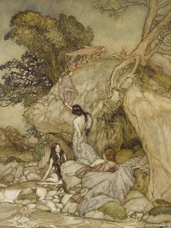 Girls by a Stream, 1906 by Arthur Rackham