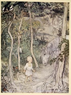 He Might Think, as a Stared on a Staring Horse, 'A Boy Cannot Wag His Tail to Keep the Flies Off' by Arthur Rackham