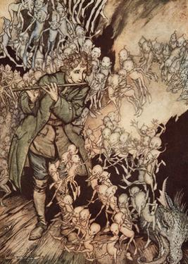 'He Played Until the Room Was Entirely Filled with Gnomes', Pub. 1917 by Arthur Rackham