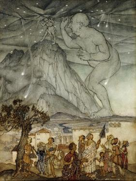Hercules Supporting the Sky instead of Atlas by Arthur Rackham