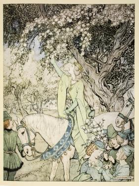 How Queen Guenever Rode A-Maying into the Woods and Fields Beside Westminster by Arthur Rackham