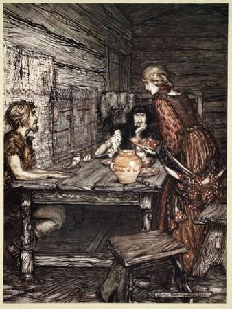 Hunding discovers the likeness between Siegmund and Sieglunde', 1910 by Arthur Rackham