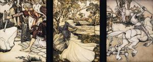 Illustrations to the Morte d'Arthur: Sir Galahad Draws the Sword of Balin f by Arthur Rackham