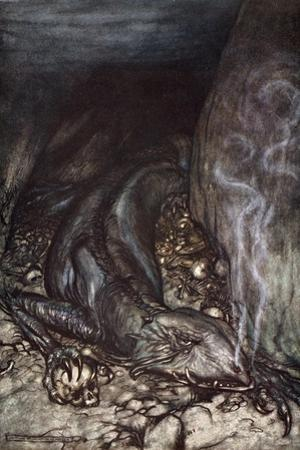 In dragon's form Fafner now watches the hoard', 1924 by Arthur Rackham