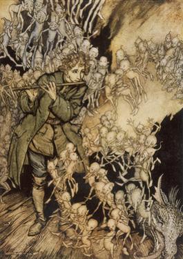 Man Playing Flute to Gnomes by Arthur Rackham