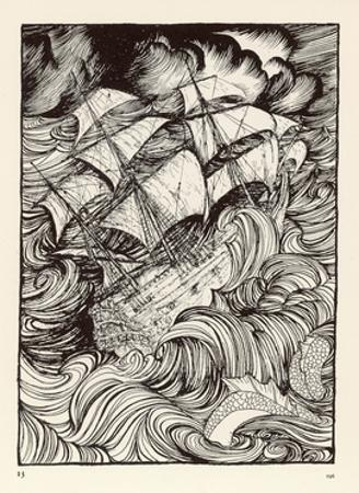 Message Found in a Bottle, Ship in a Storm by Arthur Rackham