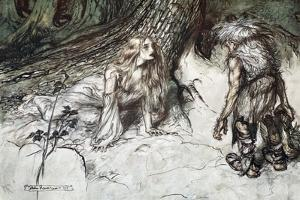 Mime finds the mother of Siegfried in the forest', 1924 by Arthur Rackham