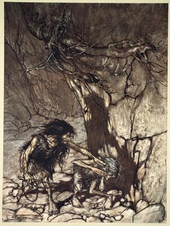 Mime howling 'Ohe! Ohe! Oh! Oh!'', 1910 by Arthur Rackham