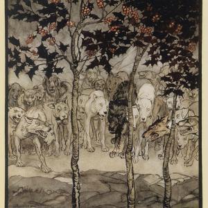 Mythical Irish Dogs by Arthur Rackham