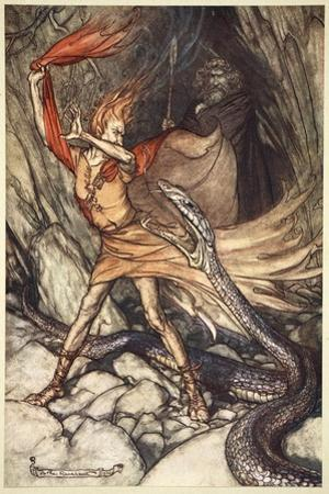 Ohe! Ohe! Horrible dragon, O swallow me not! Spare the life of poor Loge!', 1910 by Arthur Rackham