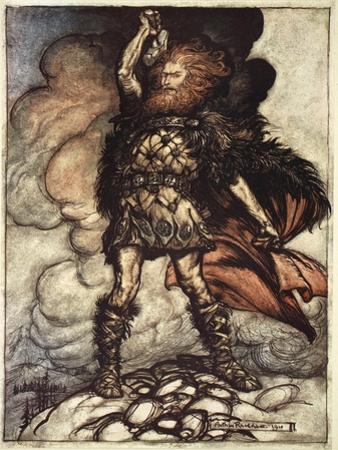 One of the Gods, Donner, summons the mist away', 1910 by Arthur Rackham