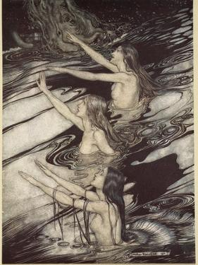Our warning is true: flee, oh flee from the curse!', from 'Siegfried and The Twilight of Gods' by Arthur Rackham