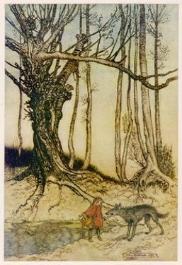 Rackham, Red R.H. and Wolf by Arthur Rackham