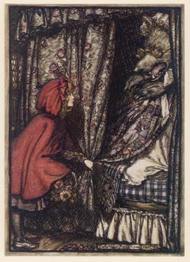 Rackham, Wolf in Bed by Arthur Rackham