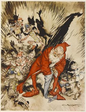 Santa Filling Stockings by Arthur Rackham