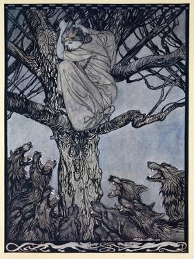 She Looked with Angry Woe at the Straining and Snarling Horde Below by Arthur Rackham