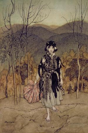 'She Went Along, and Went Along, and Went Along Catskin', Illustration from 'English Fairy…