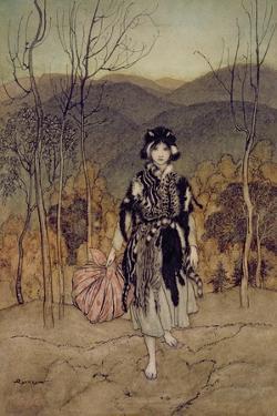 'She Went Along, and Went Along, and Went Along Catskin', Illustration from 'English Fairy… by Arthur Rackham