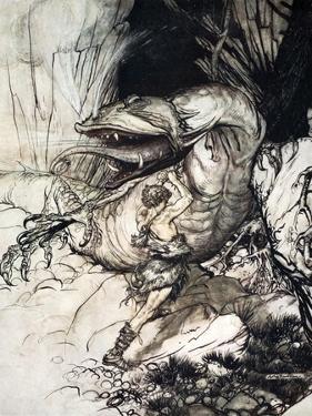 Siegfried kills Fafner', 1924 by Arthur Rackham