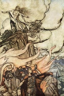 Siegfried leaves Brunnhilde in search of adventure', 1924 by Arthur Rackham