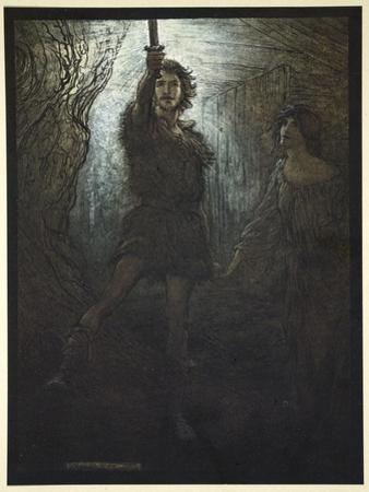 Siegmund the Walsung thou does see! As bride gift he brings thee his sword', 1910 by Arthur Rackham