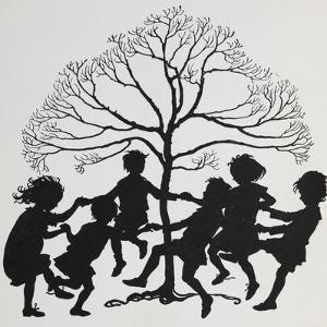 Silhouette Of Children Dancing Around a Tree by Arthur Rackham