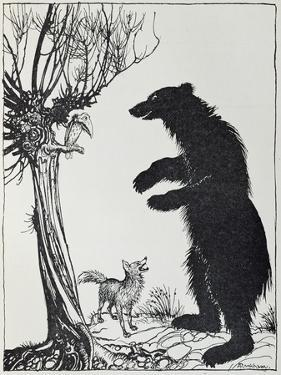 The Bear and the Fox, Illustration from 'Aesop's Fables', Published by Heinemann, 1912 by Arthur Rackham