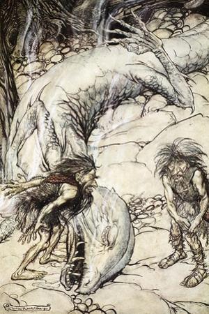 The dwarves quarrelling over the body of Fafner', 1924 by Arthur Rackham