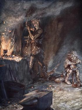 The forging of Nothung', 1924 by Arthur Rackham