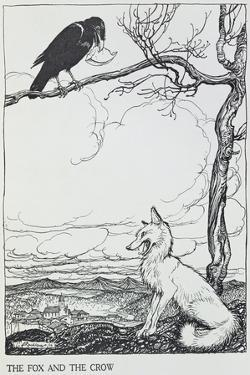 The Fox and the Crow, Illustration from 'Aesop's Fables', Published by Heinemann, 1912 by Arthur Rackham