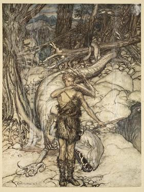 'The hot blood burns like fire!', illustration from 'Siegfried and the Twilight of the Gods', 1924 by Arthur Rackham