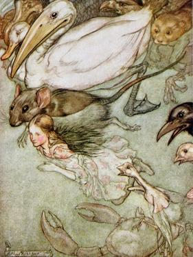 The Pool of Tears, from 'Alice's Adventures in Wonderland' by Lewis Carroll (1832-98) 1907 by Arthur Rackham