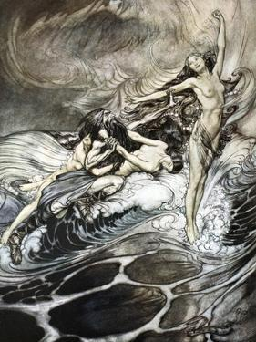 The Rhine Maidens obtain possession of the ring and bear it off in triumph', 1924 by Arthur Rackham