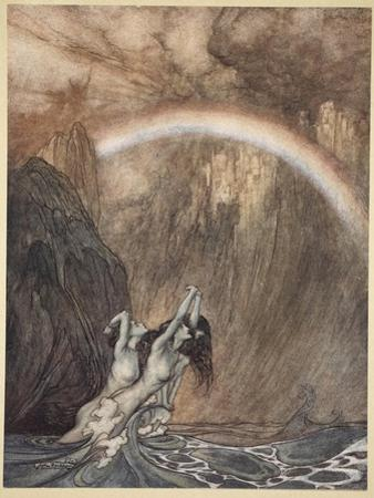 The Rhine's pure gleaming children told me of their sorrow, 'The Rhinegold and the Valkyrie' by Arthur Rackham
