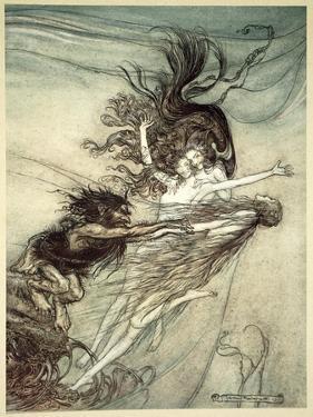 The Rhinemaidens teasing Alberich', 1910 by Arthur Rackham