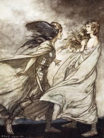 The ring upon thy hand - ..ah be implored! For Wotan fling it away!', 1924 by Arthur Rackham