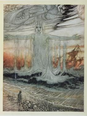 The Shipwrecked Man and the Sea, Illustration from 'Aesop's Fables', Published by Heinemann, 1912 by Arthur Rackham