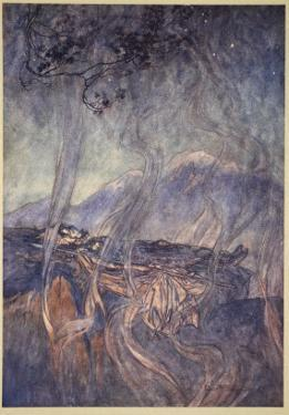 The sleep of Brunnhilde, illustration from 'The Rhinegold and the Valkyrie', 1910 by Arthur Rackham