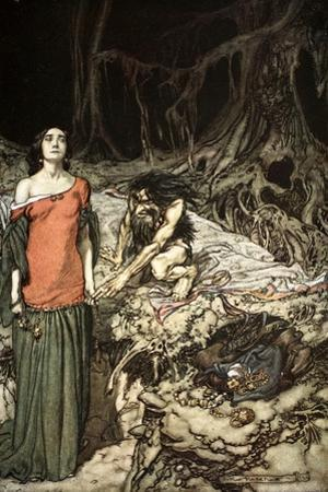 The wooing of Grimhilde, the mother of Hagen', 1924 by Arthur Rackham