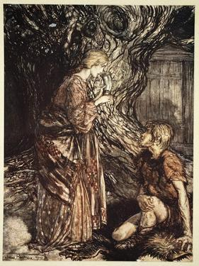 This healing and honeyed draught of Mead deign to accept from me', 1910 by Arthur Rackham