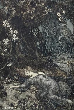 Titania Lying Asleep, Illustration from 'Midsummer Nights Dream' by William Shakespeare, 1908 by Arthur Rackham